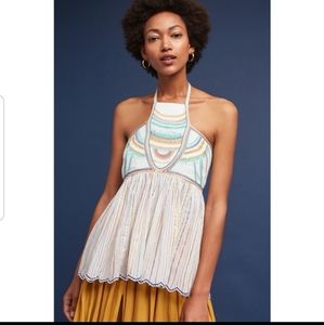Anthropologie Floreat Embroidered Halter T…